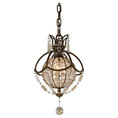 Give your room an instant conversation piece when you hang this one-light mini pendant. Oxidized bronze accents complement the beauty of this piece, and the breath-taking crystals reflect light to add elegance to your decor.