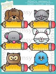 The Pencil Animals clip art set features 6 animals peeking over pencils. This set contains 12 image files, which includes 6 color images and 6 black & white images in png. All images are for better scaling and printing. Name Tag For School, School Frame, Cubby Name Tags, Dinosaur Printables, Classroom Charts, Birthday Charts, Puppet Patterns, Baby Posters, School Labels