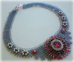 Indian Summer Beaded Necklace  OOAK  Jewelry  with Swarovski Cabochon and Crystals made by SpringColors