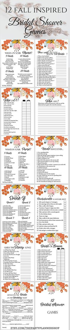 12 Autumn Bridal Shower Games, Printable Fall Bachelorette Party Game, Bridal Shower Game, Hens Night Game  This printable bachelorette party or bridal shower game set is the perfect way to have a great time. From simple games to drinking games everybody can find something to enjoy. These bachelorette party games will set a good mood and guarantee a few interesting moment.  ► WHATS INCLUDED  You will receive 4 PDF files with the following games:  ►1. Advice For The Bride On The Wedding Night…