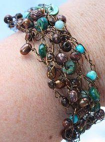 Earthy Crochet Wire Bracelet | AllFreeJewelryMaking.com