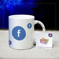 Facebook Logolu Seramik Kupa Baskı Mugs, Youtube, Tableware, Shopping, Facebook, Google, Food, Dinnerware, Tumblers