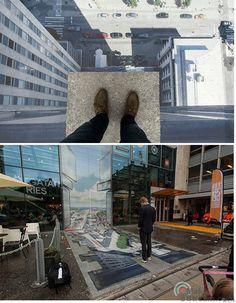 Amazing optical Ilussion of height by Erik Johansson on the street. Stockholm, Sweden