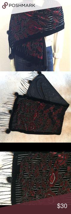 """Burnout Velvet with Mink Wrap/Scarf Gorgeous Black and Burgundy Velvet burnout scarf, sheer black detailing, real mink balls at fringe. 18.5"""" wide, 61"""" long. Accessories Scarves & Wraps"""