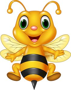 Illustration of Vector illustration of Cartoon funny bee flying. isolated on white background vector art, clipart and stock vectors.