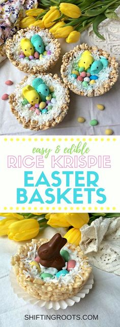 Check out this creative DIY Easter basket tutorial--everything is completely edible! Make the nest from Rice Krispies or puffed wheat, then decorate with jelly beans, candy, coconut, chocolate, and peeps. A fun recipe you can do with your kids. #easter #easterbasket #ricekrispietreats #ricekrispies #easter #easterideas #easterbasketideas #peeps #easternests via @shifting_roots