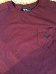 RALPH LAUREN POLO LONG SLEEVE Pocket TEE T SHIRT L Purple / Green pony #PoloRalphLauren #BasicTee