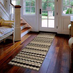 "Orian Polka Stripe Woven Olefin Fleece Runner Rug, Gray, 1'11"" x 7'5"""