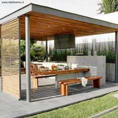 There are lots of pergola designs for you to choose from. You can choose the design based on various factors. First of all you have to decide where you are going to have your pergola and how much shade you want. Outdoor Kitchen Plans, Outdoor Kitchen Design, Patio Design, Exterior Design, House Design, Outdoor Kitchens, Landscaping Design, Garden Landscaping, Modern Pergola