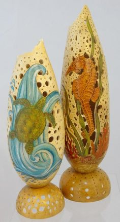 Filigree Sealife - In this fun class you will wood burn the pattern onto a banana gourd, use water color pencils, do filigree carving, create a sanded polish finish and add a permanent base using a separate gourd. Artist: Gloria Crane.