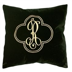 Monogrammed Black Velvet Throw Pillow