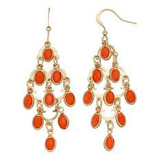 Orange Oval Nickel Free Kite Earrings, Women's, Pink