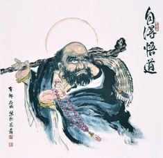 菩提達摩(Bodhidharma),又作菩提達磨,簡稱達摩,意譯為覺法。南北朝時人,中國禪宗初祖,被尊稱為「東土第一代祖師」、「達摩祖師」。Chinese painting.