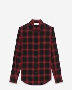 saintlaurent, YSL Nashville Shirt in Black and Red Plaid Cotton and Tencel