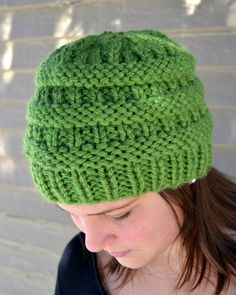 Knit Chunky Beanie Hat BoxCar Hand Knit in GRASS GREEN by Gone2Pieces