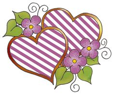 artbyjean clipart hearts | pretty colors in a simple striped pattern two hearts in the hearts ...