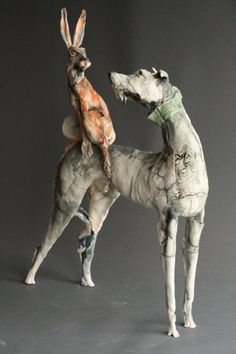 Long Dog and Hare both feature strongly in European mythologies.,  Ostinelli and Priest - Portfolio - Ceramic Animal Sculptures