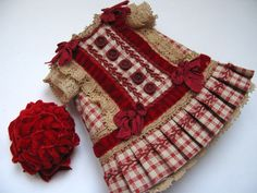 Tiny Dress and hat for Antique French or German Doll