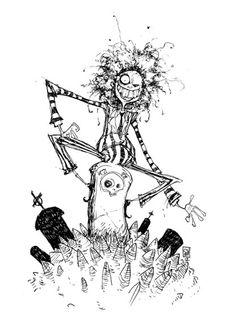 'Beetlejuice' by artist, Skottie Young. Tim Burton Sketches, Art Tim Burton, Tim Burton Stil, Tim Burton Artwork, Tim Burton Drawings, Tim Burton Kunst, Film Tim Burton, Tim Burton Characters, Skottie Young