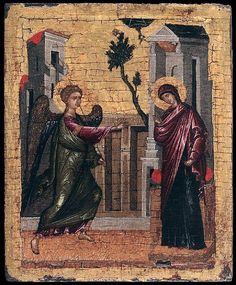 The Annunciation. 2nd half of the 15th c. Unknown Cretan painter. Ikonen-museum Recklinghausen, Germany.