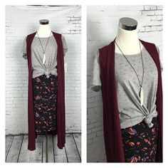 Loving this combo outfit!!! Cassie skirt, Classic T and Joy sweater vest. Pair with some brown boots.