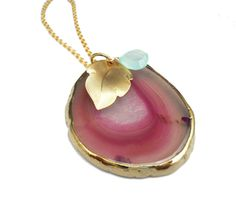 A nice bold pendant   Toccajewelry.etsy.com - Pink Agate Pendant Necklace - $65