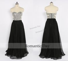New Design Luxurious Rhinestone Bodice Sexy Cut Out Side Black Long Prom Dress/Prom Party Dress/Celebrity Dress/Custom Made 0425