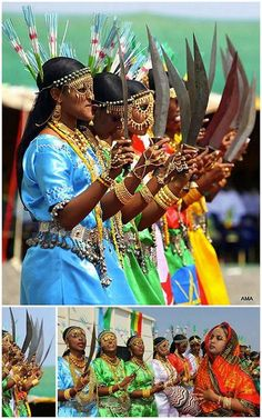 Tradtional dance of Afar's in Ethiopia- , gold bangles, henna palms and..Machetes