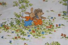 70er 70s Vintage Cotton Children's Bedding Fabric Cotton Fabric Bunny + HEDGEHOGS