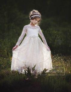 e064210fb441 flower girl dress, flower girl lace dresses, country lace dress, ivory lace  dress cream, Rustic flower girl, girls lace dress, toddler dress