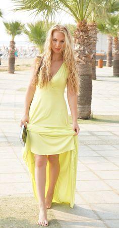 #Larnaca #Cyprus #blondie #yellow #yellowdress #maxi #maxidress #style #fashion #walking #palms #summer Cyprus, Yellow Dress, Palms, Style Fashion, Wrap Dress, Walking, My Style, Lady, Heels