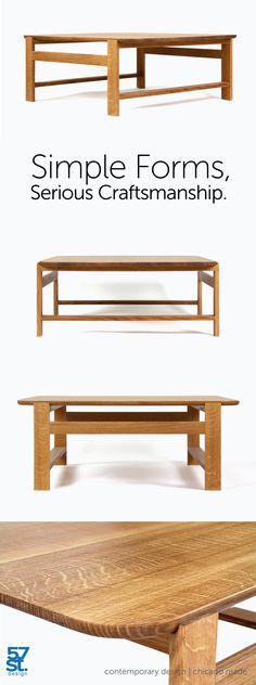 The Olmsted Coffee Table appears to be two different designs: on one side, the pedestal base's wider face-grain gives the table visual heft; on the other, the slender side-grain creates the impression of a much lighter piece. Made from solid, American white oak with a hand-rubbed, Danish oil and wax finish.