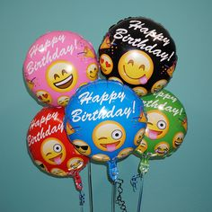 """18"""" Happy Birthday 5 Pack (Variety) Celebrate your birthday in emoji style!! These sweet emoji helium balloons are the perfect accent to any birthday party and are guaranteed to make your day special."""