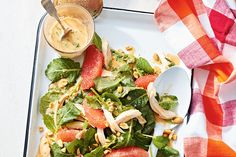 Thai Peanut, Grapefruit and Chicken Salad—Rotisserie chicken is the ultimate weeknight cheat. It shreds beautifully into this salad and soaks up the nutty citrus dressing.