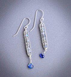 Gemstone earrings artisan earrings dangle earrings blue by Noduri