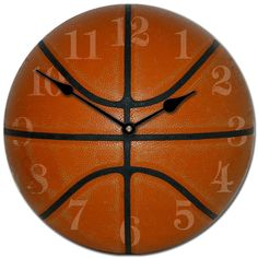 Basketball Clock can be customized to include your child's name and comes in 5 sizes.  Starts at $44 and ships free. Great for a boy's room! #basketball #clocks #boysroom http://thebigclockstore.com/category/blog/
