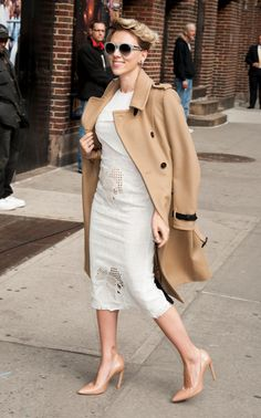 On Thursday, Scarlett Johansson arrived to a taping of the ?Late Show with David Letterman? channeling Marilyn Monroe in a form-fitting white Roland Mouret dress. She finished off the sophisticated look with a classic trench coat and oversized sunglasses. Model Chrissy Teigen also sported the pure shade when she wore a white tuxedo jumpsuit from Olcay Gulsen to the 21st Annual City Harvest Gala in New York. From Elizabeth Olsen?s monochromatic ensemble to Juno Temple?s floral Saint Laurent…