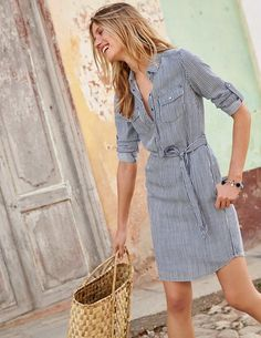 Popover Shirt Dress WW028 Day Dresses at Boden - Size 2 stripe