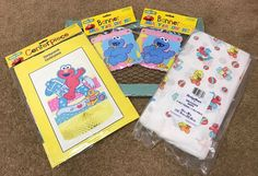 Sesame Street Baby Shower Centerpiece Elmo Cookie Monster Banners Cover Vintage #SesameStreet #BabyShower