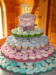 Pastel Wedding Cupcake Tower