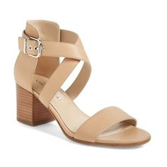 "Via Spiga 'Jobina' Crisscross Strap Block Heel Sandal, 2 1/2"" heel (€175) ❤ liked on Polyvore featuring shoes, sandals, nude, leather shoes, ankle tie sandals, block heel sandals, chunky-heel sandals and mid-heel sandals"