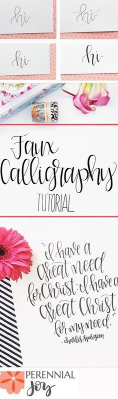 DIY Faux Calligraphy Tutorial: How to make modern calligraphy that looks amazing! http://Perennialjoy.com