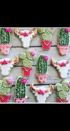 gold rustic cacti and steer head cookies Set includes 12 large cookies, 4 of each design pictured.Set includes 12 large cookies, 4 of each design pictured. Royal Icing Cookies, Sugar Cookies, Fish Cookies, Buffet Dessert, Cactus Cake, Cactus Cupcakes, Cactus Food, Cute Cookies, Cookie Designs