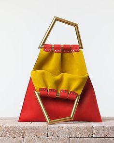 CÉLINE | Summer 2014 Leather goods and Handbags collection. Triangle handbag. In smooth calfskin vermillion