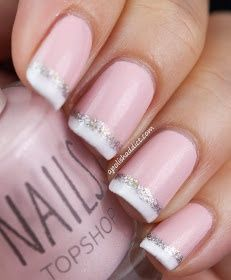 Glitter French Tip Nails (Idea). Cute and still simple enough for me!