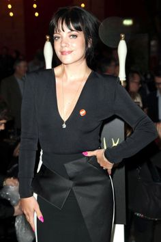 Lily Allen Wearing Roland Mouret Dress at the Ultimate Pub Quiz in London - February 2014