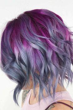 Hair Lights, Light Hair, Hair Color Balayage, Hair Highlights, Purple Highlights, Purple Grey Hair, Gray Hair, Purple Streaks, Gray Ombre