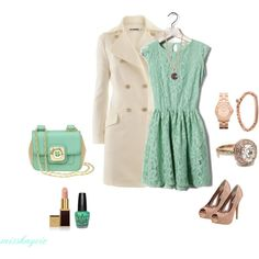 mint and cream, created by misskaycie.polyvore.com