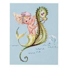Girls room Mermaid on a seahorse wall decor - art artwork picture diy unique Mermaid Fairy, Mermaid Beach, Mermaid Room, Vintage Cards, Vintage Images, Seahorse Art, Seahorses, Octopus Mermaid, Mermaid Illustration