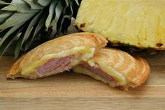Hawaiian sandwiches in the pie iron.  Ham, cheese, and pineapple!